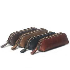 1x Handmade Cow Leather Pen Case Bag Zipper Pencil Pouch Brush Tool Random Color
