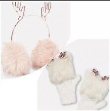 Justice Nwt Girls Reindeer Faux Fur Ear Muffs Fizzy Gloves Mittens Set Pink