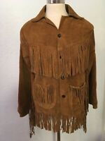 Men's Vintage Brown Suede Western Fringed Lined Jacket Size 40 med ranch cowboy