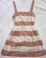 Ann Taylor Loft cotton voile lace striped fit flare sun beach tea Dress 6 Q96