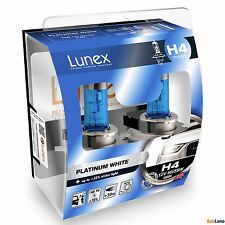 2x H4 Lunex Platinum White 4000K 472 12V Lampadine Faro Alogene P43t Hard Case