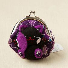 Japanese Silk cute Lucky Cat Maneki Neko Coin Change Wallet Purse Bag purple