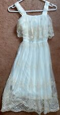TEMT SIZE 8 STUNNING CREAM LACE DRESS,SPECIAL OCCASION, SUEDE-LIKE BELT