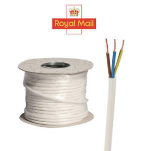 White 3 Core Flex 0.75mm 1.0mm 1.5mm Mains Wire Cable Electric 3183Y