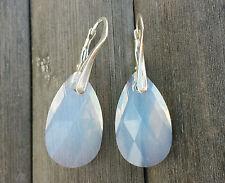 Ohrringe 925 Silber mit Swarovski Elements Tropfen White Opal Weiss
