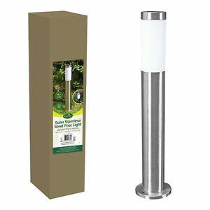 60cm Stainless Steel Solar Powered Garden Bollard Light / Auto-On & Weatherproof