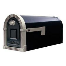 Gibraltar Mailboxes Brunswick Large Galvanized Steel Post-Mount Mailbox in Black