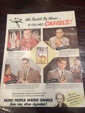 1951 CAMEL CIGARETTES MAG. AD - BASEBALL PLAYERS - Bob Lemon, Raschi, Konstanty