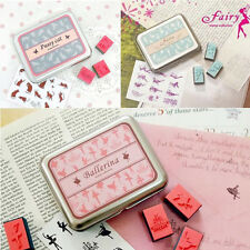 New Rubber Cute Stamps Set Tin Gift Box Creative Designs Stamp Circus Cartoon 1X