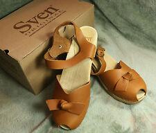 SVEN Mary Jane bow Peep Toe Wood Clog sandal EU 41 US 10 worn once brown leather