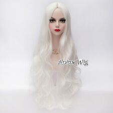 80cm Lolita Basic Anime Women White Long Curly Synthetic Party Hair Cosplay Wig
