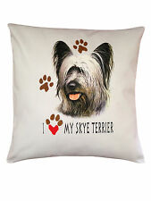 More details for skye terrier heart breed of dog cotton cushion cover - perfect gift
