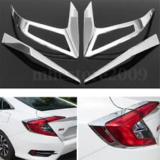 4pcs ABS Chrome Rear Tail Light Lamp Cover Trim For Honda Civic 10th Gen 2016
