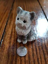 """2 1/2"""" Kitty Cat Fluffy Kitten Gray White Figurine Vintage Miniature"""