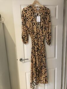 & Other Stories Satin Floral Wrap Dress 42 UK 12/14 Rrp £125 Bnwt