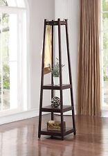 Espresso Finish Wooden 3 Tier Shelves, Garment Coat Hat Rack Hanger with 8 Hooks