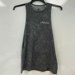 adidas Womens Gray Summer Wash ClimaLite Logo Muscle Tee Tank Top Size S $30