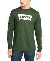 Levi's Mens T-Shirt Green Size 2XL Tundra Logo Crewneck Long Sleeve Tee $34 208