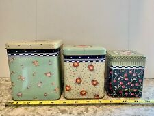 1997 Mary Engelbreit Set of 3 Tins Floral & Cherries Square Nesting Cute!