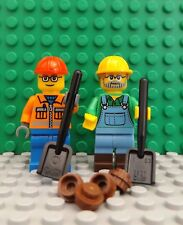2 LEGO Brand New Mini Figures Workman City Worker Construction FARMER Accessoire