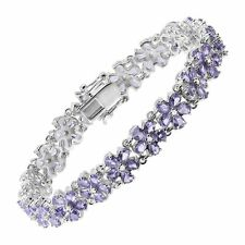 Natural Tanzanite Flor Pulsera de Tenis en Plata Esterlina, 7.5