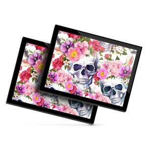 2 x Glass Placemats 20x25 cm - Pink Flowery Sugar Skull Flowers  #13088