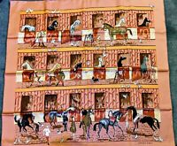 Hermes Silk Shawl/Scarf Horse Stall Print With Box