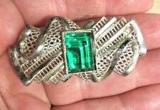 1930s LITTLE NEMO Deco Pot Metal Pin GREEN VAUXHALL Molded Glass Rhinestone