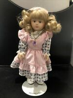 """Vintage Russ Berrie & Co.Porcelain Doll of the Month October Opal 8"""" With Stand"""