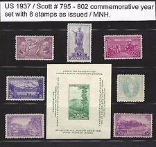 U.S. 1937 Commemorative Year Set  # 795 ~ 802  8 MNH Stamps