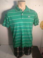 Vintage Men's Le Tigre Large Polo Shirt Green w/ White Stripes 2 Button Logo