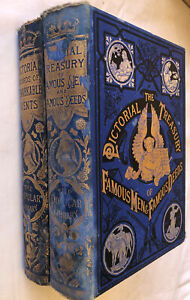 2X Pictorial Records Of Remarkable Events Famous Men And Deeds Books HC VINTAGE