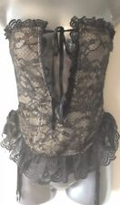 Victoria's Secret Black Lace Underwired Bustier Basque Corset & Suspenders Med