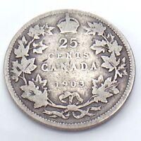 1903 Canada 25 Twenty Five Cent Quarter Canadian Circulated Coin G776