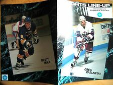 Vintage 1990 NHL Winnipeg Jets vs St. Louis Blues Game Line-up Program wi B Hull