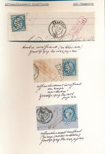 FRANCE 1870s UNDERPAIDS CERES on PIECE 3 DIFFERENT MARKS + COLOURS