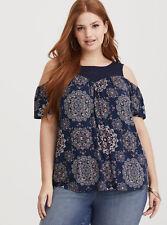 6989a3733db81 Torrid navy lace yoke cold shoulder Top size 3 (UK 22 24) NEW