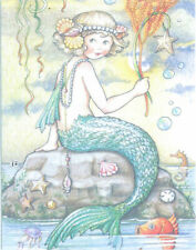 Mary Engelbreit-Little Mermaid on Rock Pearl Necklace Shells-Note Card-New!