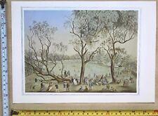 Antique Vintage Cricket Match Print: England v Victoria Australia 1864: Reprint