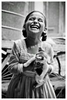 Vintage Photo Print of a Joyful Child Little Girl Happy to Have a Kitten Cat 🐱