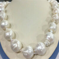 """15x20MM WHITE BAROQUE PEARL NECKLACE 18"""" Party Chic Women Charm Mesmerizing Gift"""