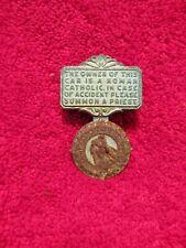 Vintage Automotive Sun Visor Religious Catholic Priest Notification Medallion