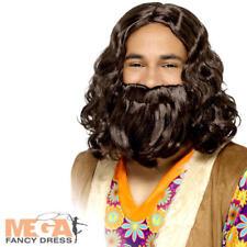 60s Hippie Wig Beard Men's Fancy Dress Prophet Jesus Adult Costume Accessory Set