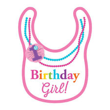 1st BIRTHDAY GIRL RAINBOW NECKLACE BIB ~ First Party Supplies Favors Pink Cute