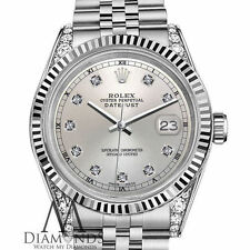 Women's Rolex 26mm Datejust 18K White Gold Stainless Steel Silver Diamond Face