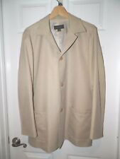 MEN'S ERMENGILDO ZEGNA BEIGE BUTTON FRONT JACKET SZ 50 M FULLY LINED GOOD USED