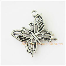 12Pcs Antiqued Silver Tone Lovely Animal Butterfly Charms Pendants 19.5mm