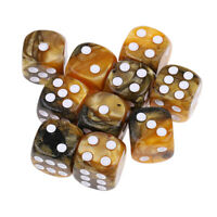 10 Six Sided D6 Acrylic Dice Spot 16mm for Dungeons and Dragons Yellow Gray