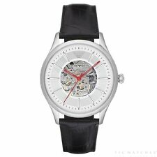 Emporio Armani Meccanico Silver & Black Leather Automatic Men's Watch - AR2072