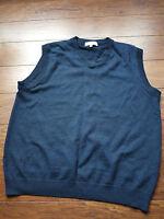 Turnbury vest navy blue 100% extra fine merino wool L Large *HOLE*